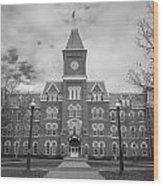 University Hall Black And White Wood Print