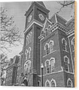University Hall From Side Black And White  Wood Print