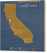 University Of California At Berkeley Golden Bears College Town State Map Poster Series No 024 Wood Print