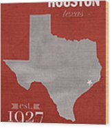 University Of Houston Cougars Texas College Town State Map Poster Series No 045 Wood Print