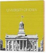 University Of Iowa - Mustard Yellow Wood Print