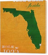 University Of Miami Hurricanes Coral Gables College Town Florida State Map Poster Series No 002 Wood Print