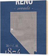 University Of Nevada Reno Wolfpack College Town State Map Poster Series No 072 Wood Print