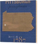 University Of Pittsburgh Pennsylvania Panthers College Town State Map Poster Series No 089 Wood Print