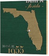 University Of South Florida Bulls Tampa Florida College Town State Map Poster Series No 101 Wood Print