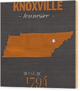 University Of Tennessee Volunteers Knoxville College Town State Map Poster Series No 104 Wood Print