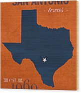 University Of Texas At San Antonio Roadrunners College Town State Map Poster Series No 111 Wood Print