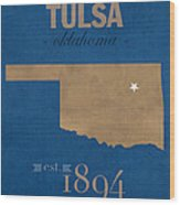 University Of Tulsa Oklahoma Golden Hurricane College Town State Map Poster Series No 115 Wood Print