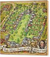 University Of Virginia Academical Village  With Scroll Wood Print