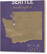 University Of Washington Huskies Seattle College Town State Map Poster Series No 122 Wood Print