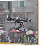 Unmanned Aerial Vehicle With A Digital Camera Wood Print