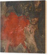 Untitled Abstract - Umber With Scarlet Wood Print