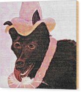 Untitled Dog With Hat Wood Print