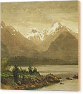 Untitled Mountains And Lake Wood Print