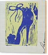 Untitled Shoe Print In Blue And Green Wood Print