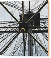 Up The Rigging Wood Print