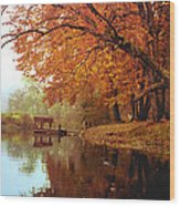 Upper Charles River in Autumn Wood Print