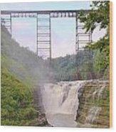 Upper Falls Under The Portage Bridge Wood Print