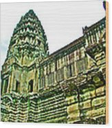 Upper Level Tower In Angkor Wat In Angkor Wat Archeological Park Near Siem Reap-cambodia Wood Print