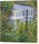 Upper Tahquamenon Falls In Early Autumn Wood Print