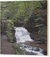 Upper Tier Of Mohican Falls Wood Print