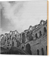 Upper Tiers Of The Old Roman Colloseum From The Inside Looking Up At Blue Cloudy Sky At El Jem Tunisia Wood Print