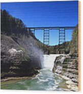 Upper Waterfalls In Letchworth State Park Wood Print