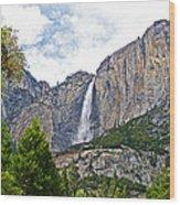 Upper Yosemite Falls From The Valley Floor In Yosemite National Park-california Wood Print