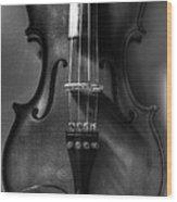 Upright Violin Bw Wood Print