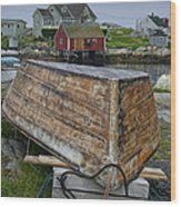 Upside Down Boat In Peggy's Cove Harbour Wood Print