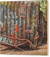 Upside Down Derailed Box Car Wood Print