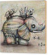 Upside Down Elephants Wood Print by Karin Taylor