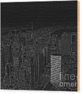 Uptown Nyc White On Black Wood Print
