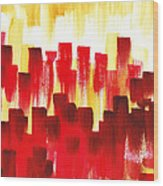Urban Abstract Red City Lights Wood Print