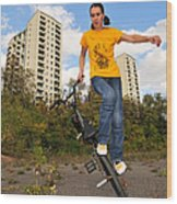 Urban Bmx Flatland With Monika Hinz Wood Print