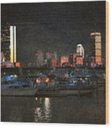 Urban Boston Skyline Wood Print