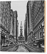 Urban Canyon - Philadelphia City Hall Wood Print