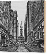 Urban Canyon - Philadelphia City Hall Wood Print by Bill Cannon