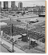 urban farm on unused lot at concord pacific place at false creek Vancouver BC Canada Wood Print