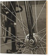 Urban Spokes In Sepia Wood Print