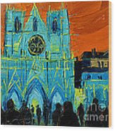 Urban Story - The Festival Of Lights In Lyon Wood Print