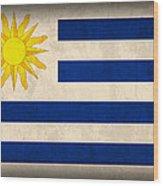 Uruguay Flag Vintage Distressed Finish Wood Print