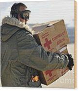 U.s. Air Force Airman Carries American Wood Print