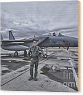 U.s. Air Force Pilot Standing In Front Wood Print by Terry Moore