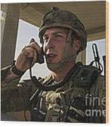 U.s. Air Force Soldier Communicates Wood Print
