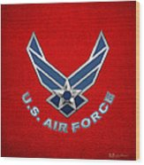 U. S. Air Force  -  U S A F Logo On Red Leather Wood Print