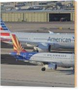 Us Airways Airbus A319 N826aw Arizona American Boeing 787 N801ac Phoenix Sky Harbor March 10 2015 Wood Print