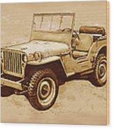 Us Army Jeep In World War 2 - Stylised Modern Drawing Art Sketch Wood Print
