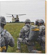 U.s. Army Paratroopers Prepare To Board Wood Print
