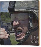 U.s. Army Sergeant Testing Wood Print